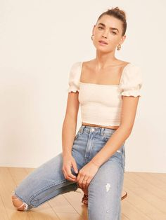 Louisiana Top - Source by reformation - Look Fashion, Korean Fashion, Fashion Outfits, Puffy Sleeves Blouse, Diy Clothes, Clothes For Women, Moda Vintage, Everyday Fashion, Stylish Outfits