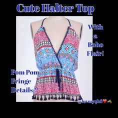 """Vintage Floral Print Halter Top Vintage Floral Print Halter Top brings together adorable vintage print of blue's and pinks with a Boho flair of Pom Pom Fringe detail. Adjustable tie at the neck, tie detail waistline. Made of a lightweight summer rayon/spandex fabric. Size Available  Medium (bust 36""""), Large (bust 38""""). Tops Tank Tops"""