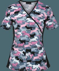 Cherokee Flexibles Scrubs What's All the Camo-tion? Print Top