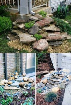 Stack Flat Rocks Under the Gutter Downspout for a Beautiful Dry Waterfall Landscape backyard landscaping landscaping garden landscaping Landscaping With Rocks, Front Yard Landscaping, Backyard Landscaping, Landscaping Ideas, Backyard Ideas, Landscaping Software, Gardening With Rocks, Luxury Landscaping, Landscaping Company