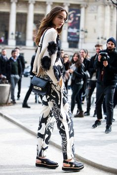 Black and white- fashion week- street style.