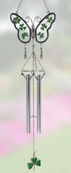 celtic wind chimes | Irish Butterfly Sun Catcher Wind Chime with Real Pressed Flower Wings ...