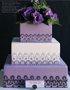 No, I don't want lavendar icing. But what about white fondant icing with dark purple or black piping in this lacy pattern?