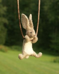 Tiny Needle Felted Rabbit Necklace or Sculpture by motleymutton