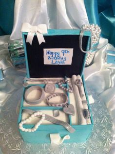 Jewelry box cake from a Tiffany's party!  See more party ideas at CatchMyParty.com!  #partyideas #tiffanys