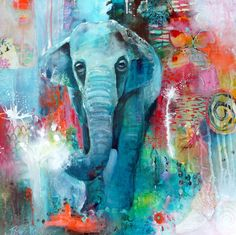 Just finished! :) Tracy Verdugo. 2013. The Elephant and the Butterfly: A Change Whose Time has Come. acrylic/mixed media on canvas. 76x76cm (30x30inches) Sold
