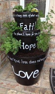 Faith, hope, love...stacked pots.