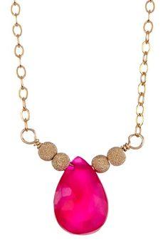 JESSICA ELLIOT Pink Chalcedony Teardrop Necklace- be still my heart! S~)