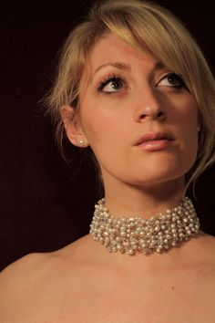 Beautiful pearl and crystal choker by sharash on Etsy