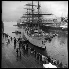 Japanese tall ship 'Kaiwo Maru' surrounded by tugboats docking in Vancouver VPL Accession Number: 45556 Date: June 1966 Old Sailing Ships, Tugboats, Sight & Sound, Tall Ships, History Facts, Back In The Day, British Columbia, West Coast