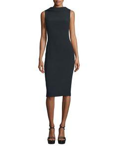 Sleeveless+Folded-Collar+Sheath+Dress,+Black+by+Michael+Kors+Collection+at+Neiman+Marcus.