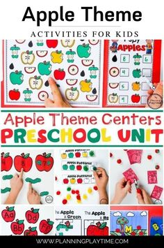 Apple Theme for Preschool.  Fun Fall Back to School Worksheets. Preschool Literacy, Preschool Themes, Kindergarten Worksheets, Literacy Activities, Back To School Worksheets, Preschool Apple Theme, Apples, Bears, Homeschool