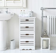 The Southampton white bathroom storage cabinet with drawers White Bathroom Storage Cabinet, Storage Cabinet With Drawers, White Bathroom Furniture, Cottage Furniture, Locker Storage, Bathroom Cabinets, Estilo Navy, White Cottage, Cottage Living