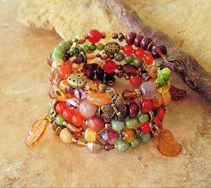 Boho Bracelet Layered Bracelet Fall Jewelry Autumn por BohoStyleMe