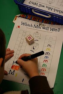 Classroom: Reading. Which M Will Win? Practice uppercase / lowercase alphabet recognition. Roll the dice and chart uppercase letters versus lowercase letters. You could create letter dice with wooden craft cubes from Hobby Lobby and stickers.