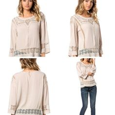 Miss Me Taupe Stud and Lace Top - Sm to Lg - $59 Thurs-Sat Specials  * Super Mystery Discount Drawing! From 20 to 50% off  (excluding name brands) * 50% off SALE! GRETCHEN SCOTT & JUDE CONNALLY ALL STYLES 50% OFF * Shoes, Scarves, Leggings Table and MORE