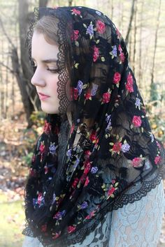 Chapel Veil, Circlet, French Lace, Christians, Veils, Infinity, Rose, Accessories, Black