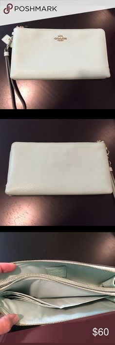 99f433d06aa Coach Mint Green Double Zip Wallet Like new!! Barely used in perfect  condition.