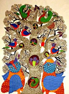 Gond Tribal Art from Madhya Pradesh Kunst Der Aborigines, Indian Folk Art, Indian Ethnic, Madhubani Art, Madhubani Painting, Wildlife Paintings, Africa Art, India Art, Krishna Art