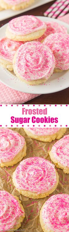 Sugar Cookies- a delicious sugar cookie topped with vanilla buttercream frosting and SPRINKLES!Frosted Sugar Cookies- a delicious sugar cookie topped with vanilla buttercream frosting and SPRINKLES! Mini Desserts, Cookie Desserts, Sweet Desserts, Just Desserts, Delicious Desserts, Dessert Recipes, Yummy Food, Yummy Recipes, Cookie Recipes