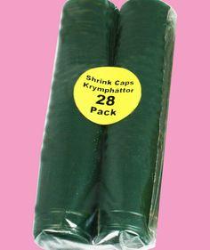 Krymphättor Gröna 28-PACK - Gröna krympkapsyler - krymphättor - i plast, som man enkelt värmer på flaskan, skyddar korken mot uttorkning och ger ett professionellt utseende.   Krympkapsylerna drar ihop sig vid 90°C, t.ex. när man doppar dem i kokande vatten eller värmer med en varmluftspistol.