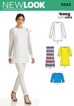 Update your wardrobe with this trendy Just 4 Knits pattern. Make a sleeveless tunic, or shorter tunic with option of half sleeves, or contrast long sleeves. Pattern also includes cropped top.