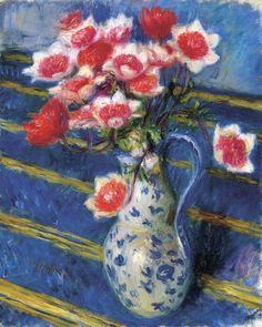 'Red and White Anemones', William James Glackens - circa 1925-1930