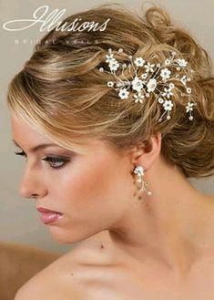 Isnt She Lovely, Headpiece Wedding, Bridal, Bride Hairstyles, Hairdresser, Hair And Nails, Diamond Earrings, Hair Beauty, Hair Styles