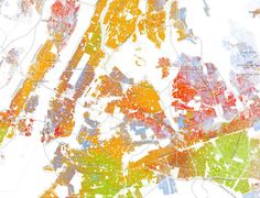 Here's New York City (all maps use the same color key as the map above):