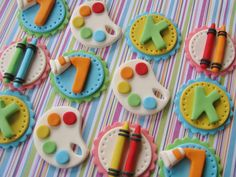 Art party cupcake toppers by Lynlee's Petite Cakes, via Flickr