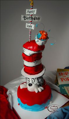 Cat Themed Birthday Cakes | Cat in the hat themed cake