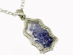 Ladies Diamond & Tanzanite Necklace in 14K White Gold (TCW 3.90).