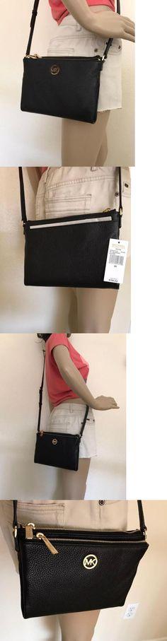 Women Handbags and Purses: Nwt Michael Kors Fulton Black Leather Large Crossbody Bag Handbag BUY IT NOW ONLY: $118.99