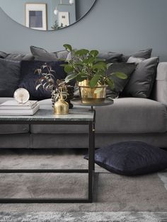 Grey velvet sofa from IKEA, green marble coffeetable, big round mirror. Ikea Living Room, Living Room Mirrors, Living Room Green, Living Room With Fireplace, Living Room Paint, Living Room Modern, Living Room Interior, Living Room Inspiration, Sweet Home