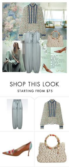 """""""I believe in the ocean curing all bad moods..."""" by musicfriend1 ❤ liked on Polyvore featuring Emporio Armani, Anna Sui, Manolo Blahnik, Cappelli Straworld and Alexis Bittar"""