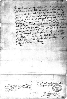 Letter from Robert Dudley to Elizabeth I. shortly before his death. This letter was found in a small chest of Elizabeth's cherished keepsakes. She had written upon it, 'his last letter'.