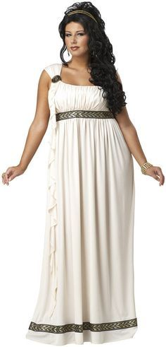 "Olympic Goddess Adult Plus Costume Includes: Dress, Medallion, Headband. Does not include wig, earrings or bracelet. Size 16-18: Chest 46"", Waist 38"", Hips 48"", Height 68"", Weight up to 190lbs. and Si"