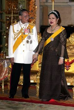 King Bhumibol with his wife Queen Sirikit in 2006 during the celebrations to mark the 60th anniversary of the King's accession to the throne.
