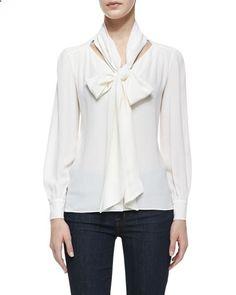 Michael Kors:Georgette Tie-Front Top, White #dress