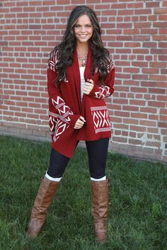 Red Tribal Cardigan