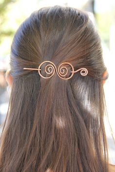 Copper hair barrette spiral wire clip swirly hair bow by Kapelika, $19.50