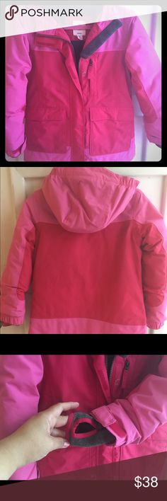 Pink two tone Lands End squall parka Lands End Squall Parka. Excellent condition, smoke free pet free home. Parka features Grow Along sleeves that have not yet been extended. Reflective trim. Adjustable waist and hood. Built in hand warmers with thumb hole as shown in pictures. This is a really durable, great quality coat. My kids typically get two seasons out of these coats, as sleeves grow with child. This coat was only used sparingly for one winter. Lands' End Jackets & Coats