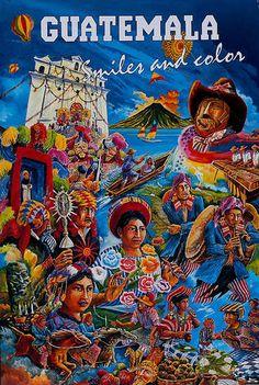 Vintage Travel Poster - Guatemala - Smiles and Color. Tikal, Vintage Travel Posters, Vintage Ads, Guatemalan Art, British Travel, Retro, Tourism Poster, Illustrations, Central America