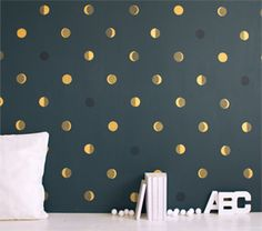 LOVE this wallpaper!!! Looks like little full moons. Small bathroom or hall. *sigh*