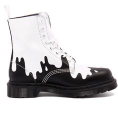 Dr. Martens Pascal Paint Splat White/Black Softy (205 CAD) ❤ liked on Polyvore featuring shoes, boots, ankle booties, faux leather booties, shearling-lined boots, shearling-lined leather boots, black and white booties and faux-fur boots