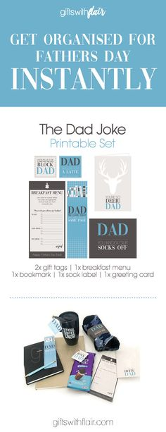 """This printable """"Dad Joke"""" gift-set will give Dad a laugh and it looks like you've gone to so much effort! Available for INSTANT download!  Share with anyone who's Dad/Partner/Hubby/Father In-Law loves a good dad joke!"""