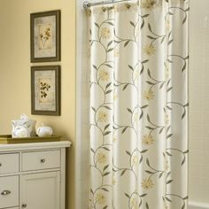 Croscill Penelope Bath Shower Curtain - This ivory shower curtain has embroidered yellow flowers. #bathroom #decor #showercurtain