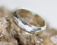 Sterling silver statement ring, silver chunky ring, unisex silver ring, faceted, geometric, mens ring, textured silver ring, modern