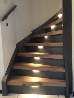 Staircase Remodel, Staircase Makeover, Stairway Lighting, Modern Stairs, Inside Home, Wood Stairs, Colorado Homes, Minimal Decor, House Entrance