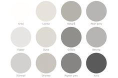 I love a good warm grey palette! - Model Home Interior Design Wall Colors, House Colors, Paint Colors, Colours, Grey Colors, Shades Of Gray Color, Interior Paint, Interior Design, Grey Palette